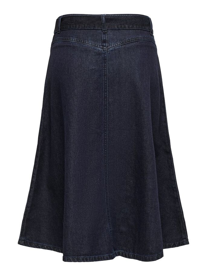 DENIM MIDI SKIRT, Dark Blue Denim, large
