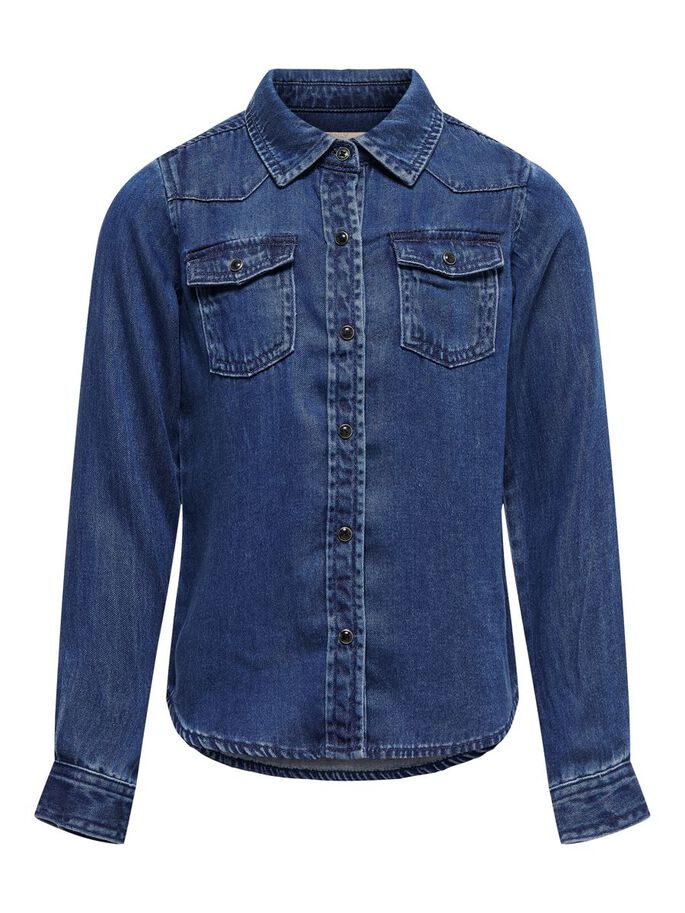 SHORT DENIM SHIRT, Dark Blue Denim, large