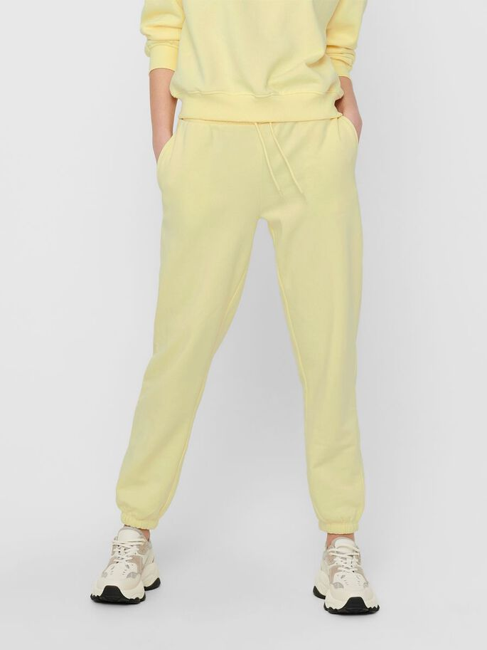 SOLID COLORED SWEATPANTS, Pastel Yellow, large