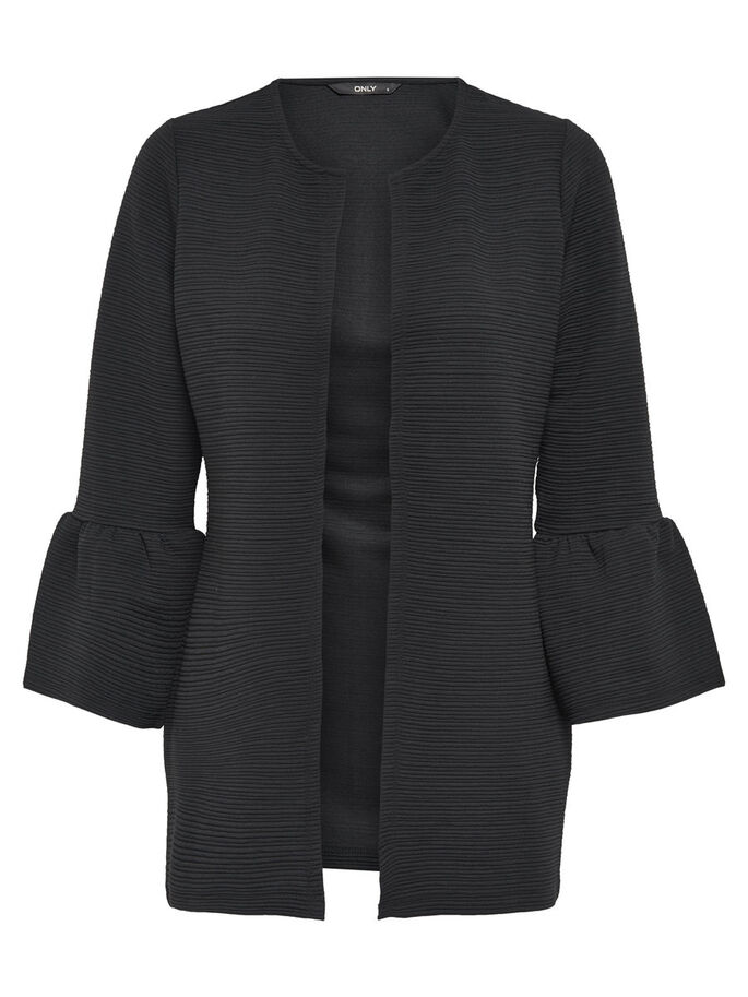 DETALJERET STRIKKET CARDIGAN, Black, large