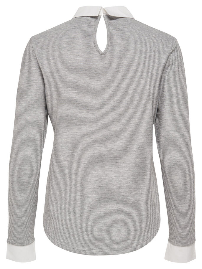 MIX LONG SLEEVED TOP, Light Grey Melange, large