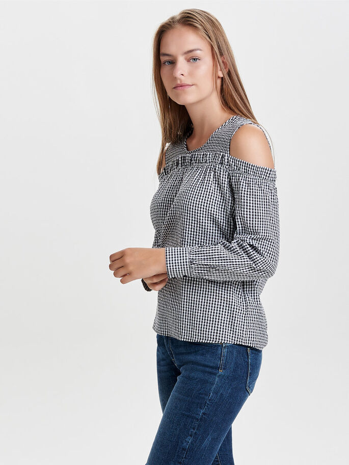 COLD SHOULDER LONG SLEEVED TOP, Cloud Dancer, large