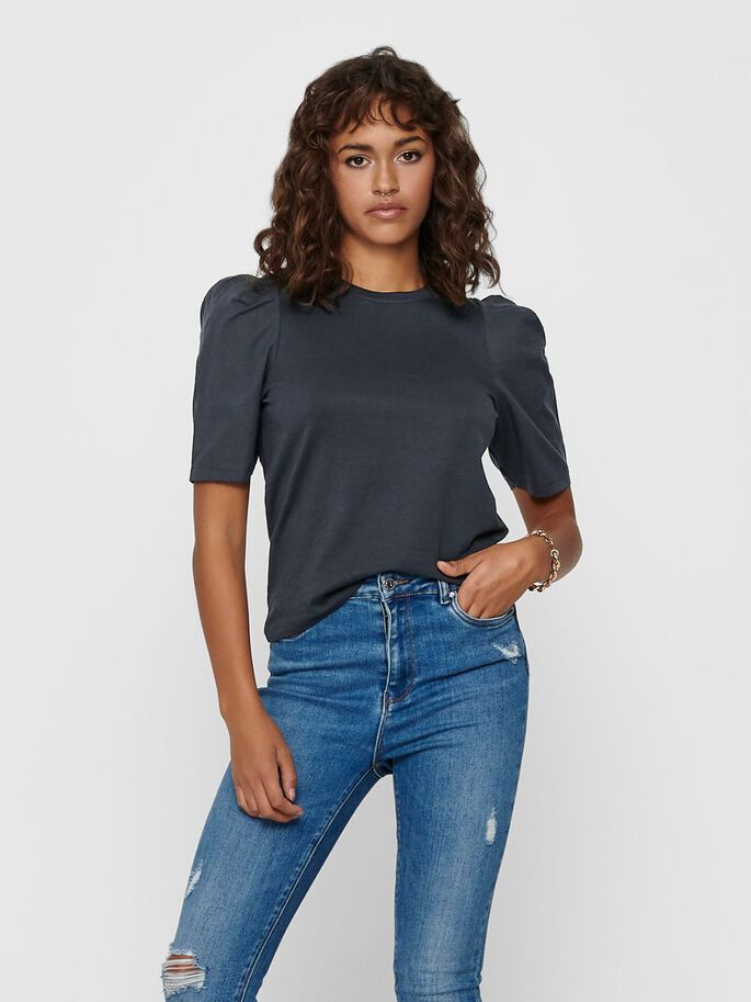 PUFF SLEEVE TOP, Blue Graphite, large