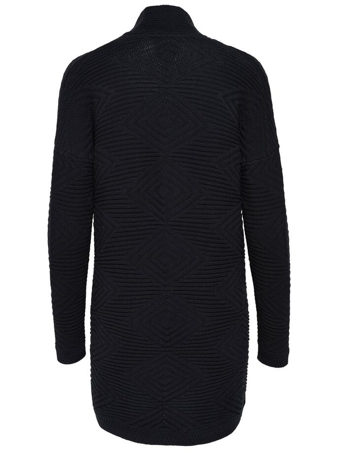 LANG STRIKKET CARDIGAN, Black, large