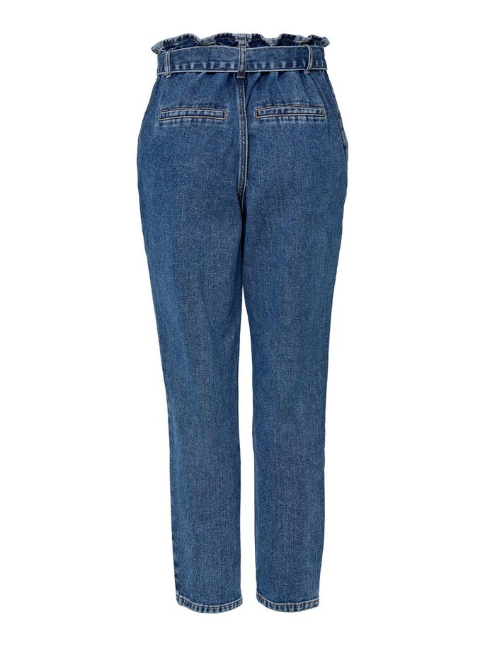 ONLJANE HW BUTTON PAPERBAG BELT HIGH-WAIST JEANS, Medium Blue Denim, large