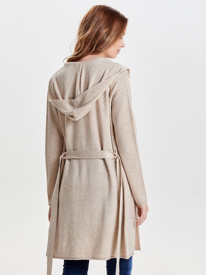 LONG CARDIGAN EN MAILLE, Whitecap Gray, large