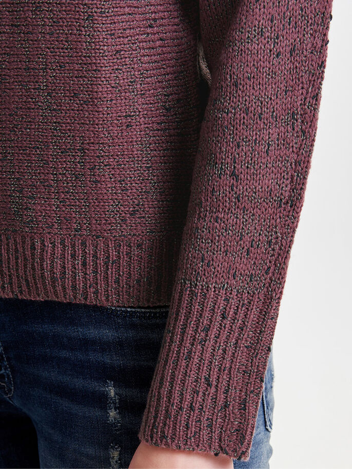 COULEUR UNIE PULL EN MAILLE, Rose Brown, large