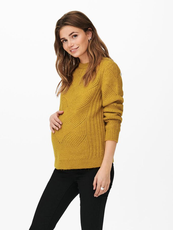 MAMA SOLID COLORED KNITTED PULLOVER, Chai Tea, large