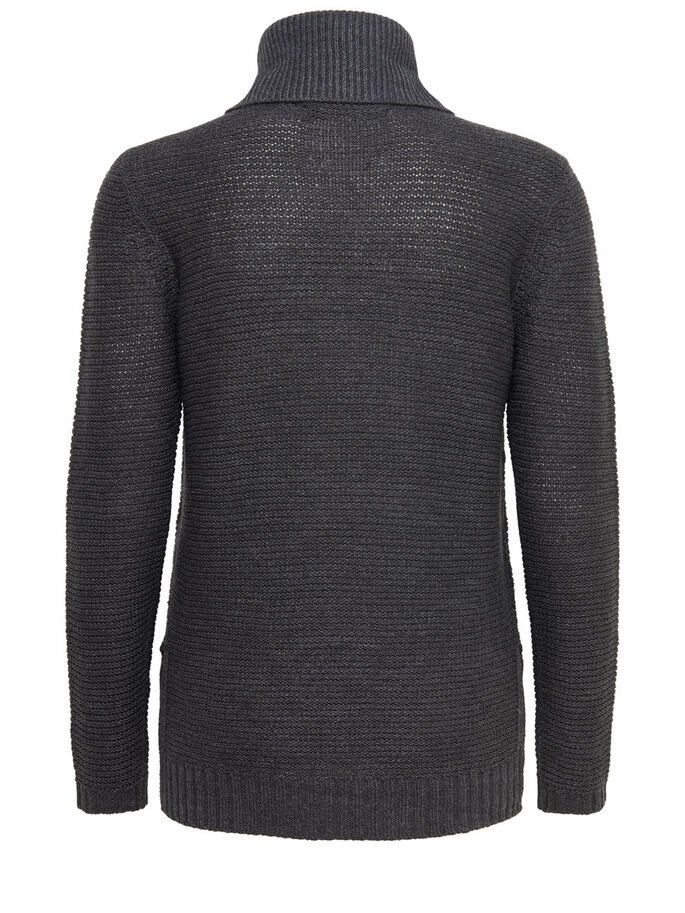 ROLLNECK KNITTED PULLOVER, Dark Grey Melange, large
