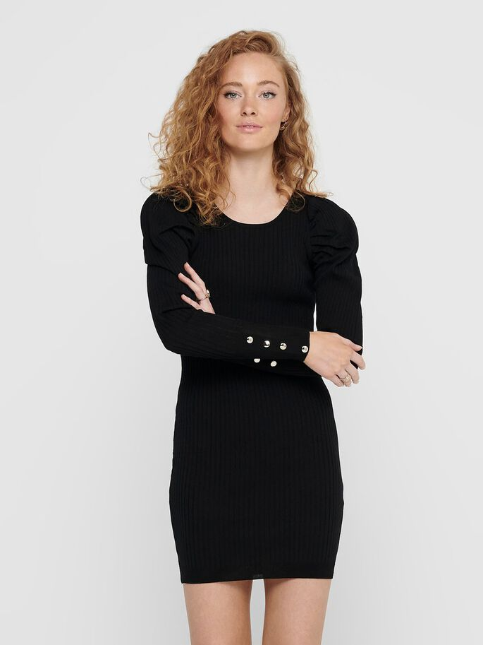 LONG SLEEVED KNITTED DRESS, Black, large