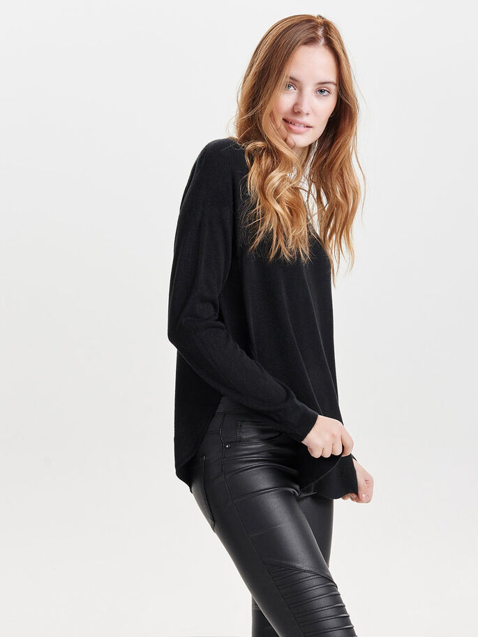 SOLID KNITTED PULLOVER, Black, large
