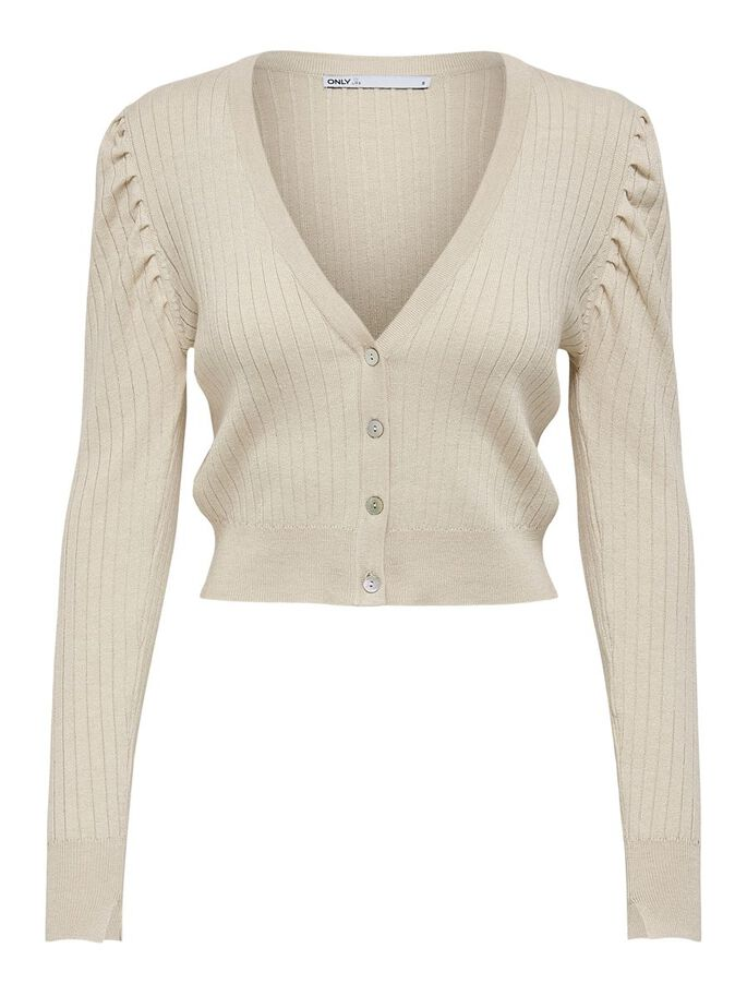 SHORT KNITTED CARDIGAN, Pumice Stone, large