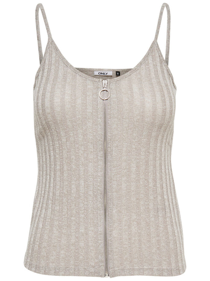 ZIP SLEEVELESS TOP, Light Grey Melange, large