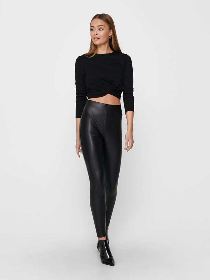 CROPPED TWIST LONG SLEEVED TOP, Black, large