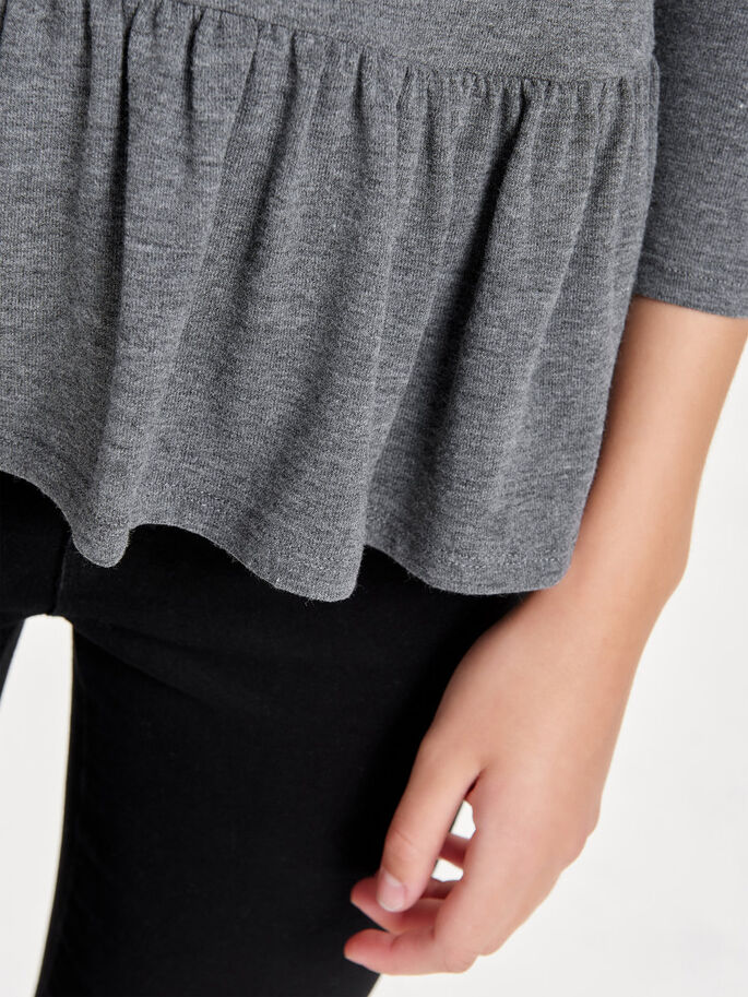 PÉPLUM TOP MANCHES 3/4, Dark Grey Melange, large