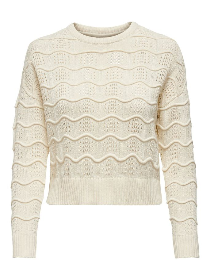 TEXTURE KNITTED PULLOVER, Eggnog, large