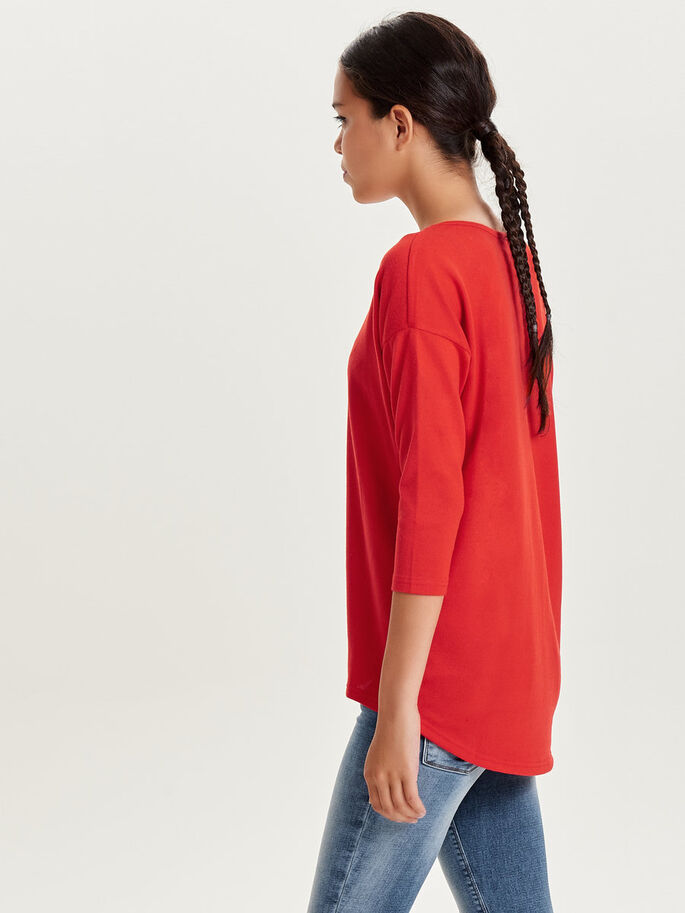 LOOSE 3/4 SLEEVED TOP, Flame Scarlet, large