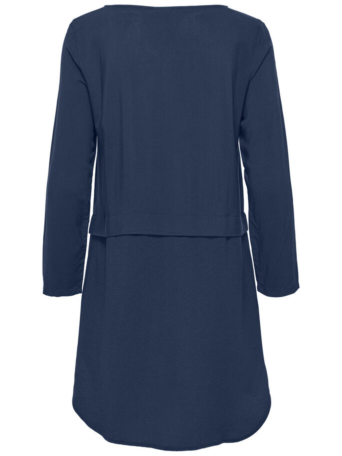 MIXED LONG SLEEVED DRESS, Sky Captain, large