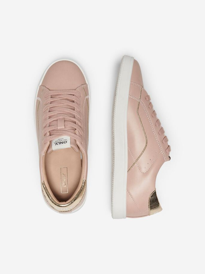 LEATHER LOOK SNEAKERS, Rose Pink, large