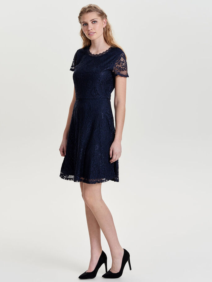 LACE SHORT SLEEVED DRESS, Night Sky, large