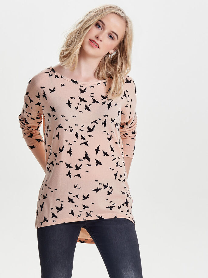 PRINTED LONG SLEEVED TOP, Mahogany Rose, large
