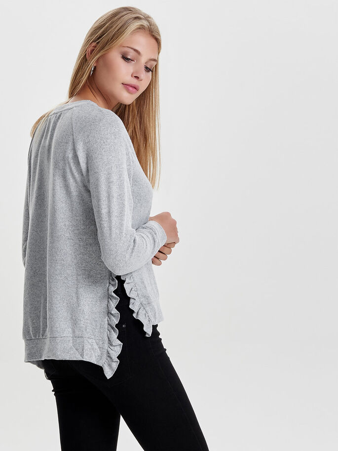 KNITTED DETAILED BLOUSE, Light Grey Melange, large