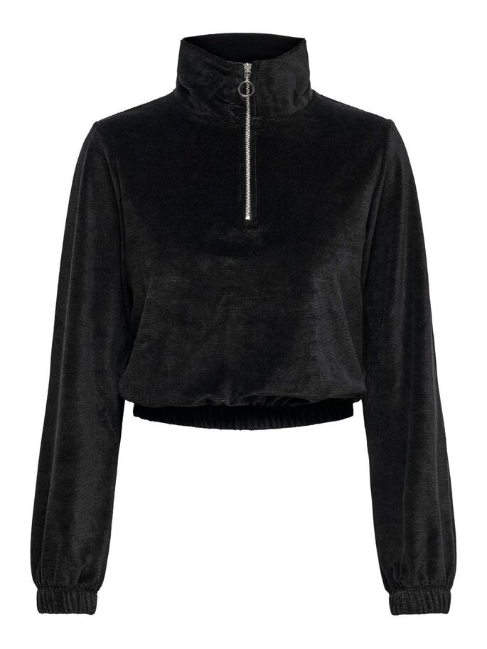 CROPPED SWEATSHIRT, Black, large