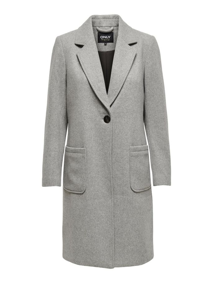 LONG WOOL COAT, Light Grey Melange, large