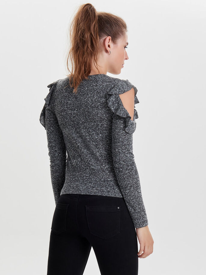 FLÆSE STRIKKET PULLOVER, Dark Grey Melange, large