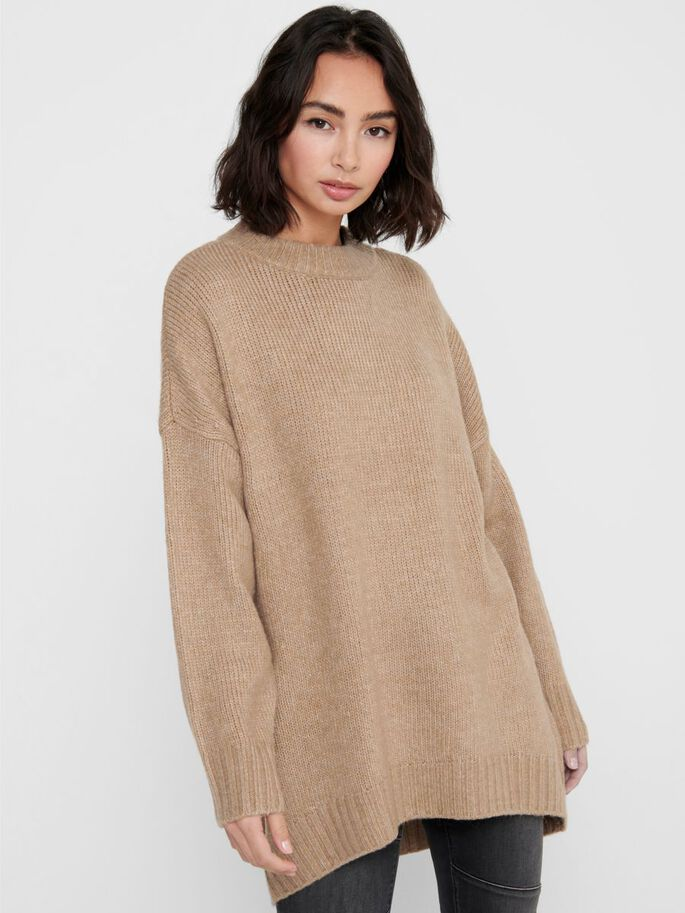 LONG KNITTED PULLOVER, Chipmunk, large