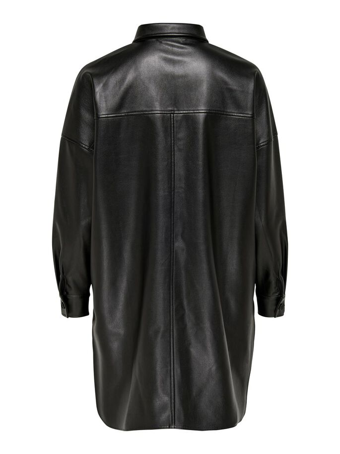 LONG FAUX LEATHER SHIRT, Black, large