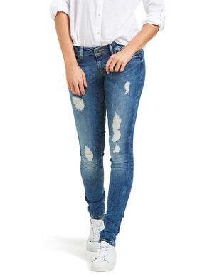 CORAL DESTROYED SKINNY FIT JEANS