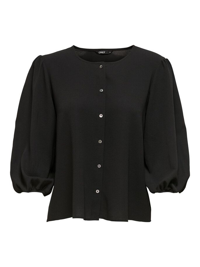 MANCHES BOUFFANTES TOP, Black, large