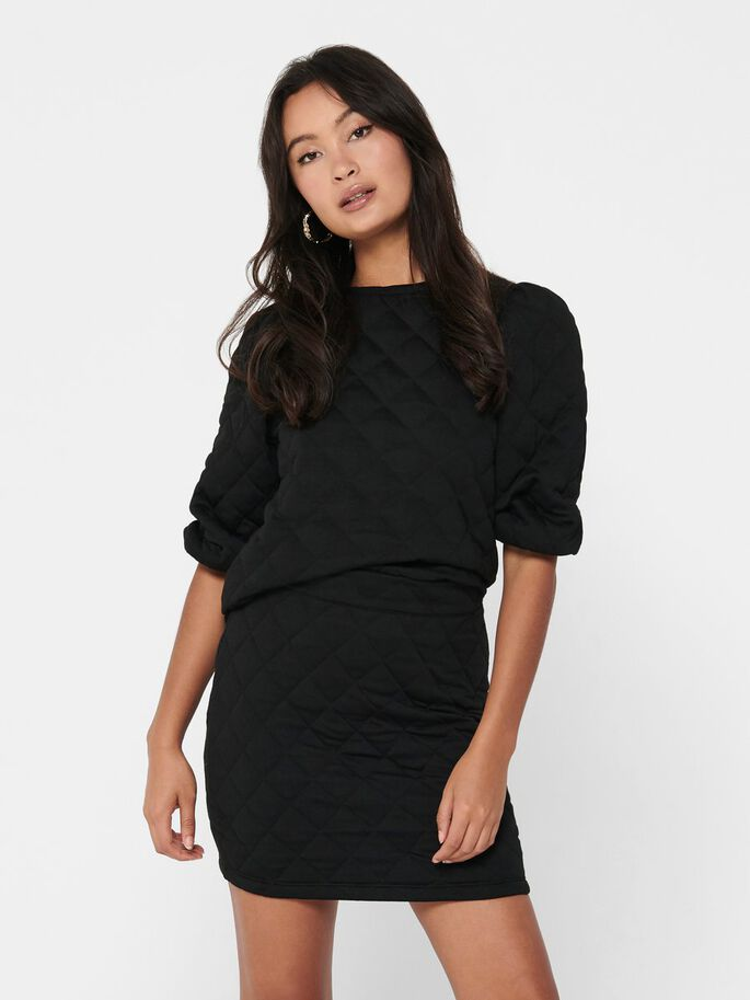 QUILTET TOP MED 3/4-ÆRMER, Black, large