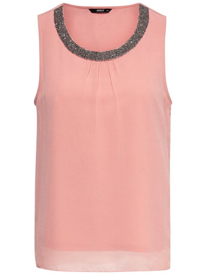 DETALJERET TOP SANS MANCHES, Rose Dawn, large