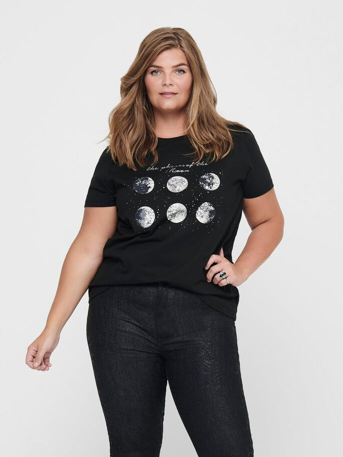 CURVY PRINTED T-SHIRT, Black, large