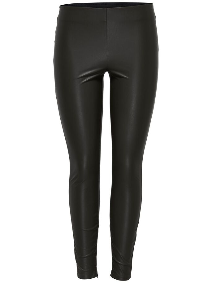 LEDERLOOK- LEGGINGS, Black, large