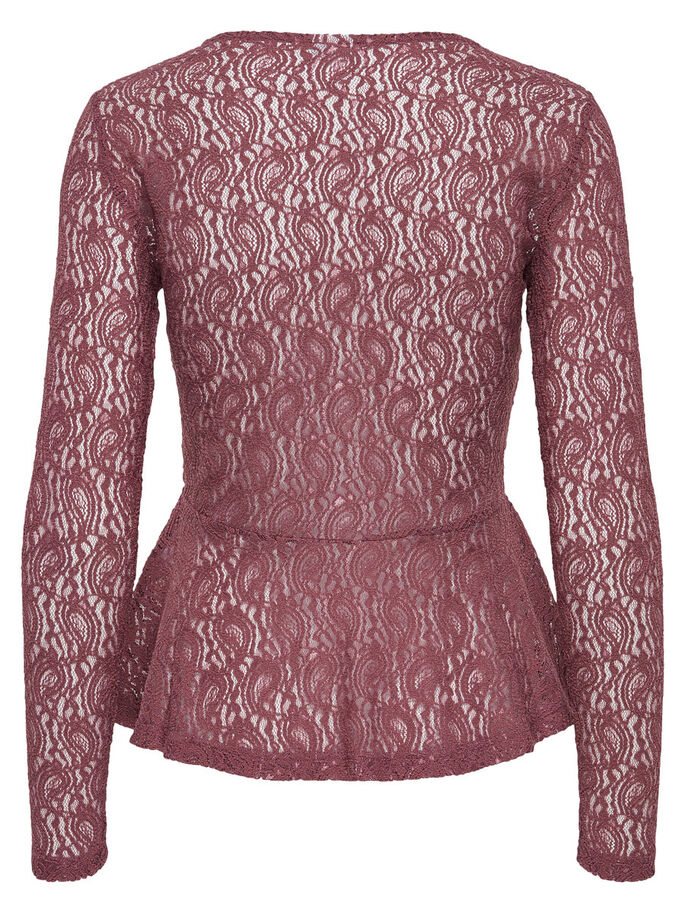 PEPLUM TOP MET LANGE MOUWEN, Rose Brown, large