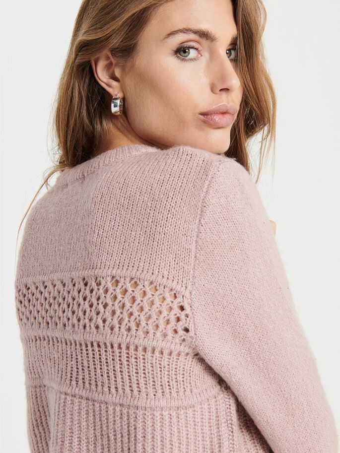 TEXTURE KNITTED PULLOVER, Woodrose, large