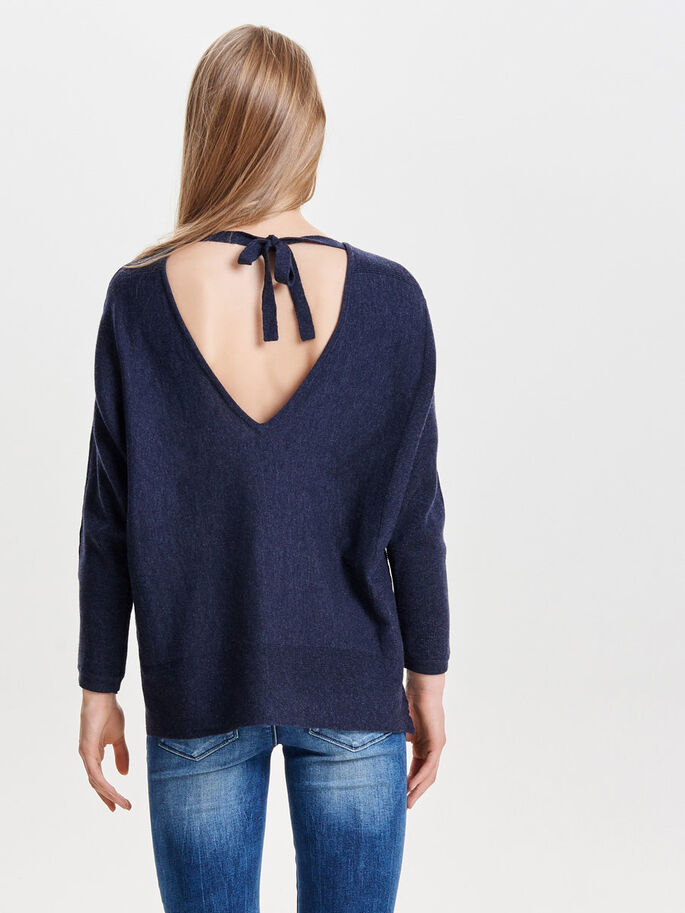 DETALJERET STRIKKET PULLOVER, Night Sky, large