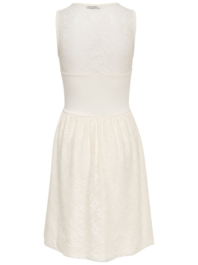 LACE SLEEVELESS DRESS, Cloud Dancer, large