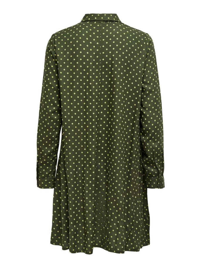 DOTTED SHIRT DRESS, Forest Night, large