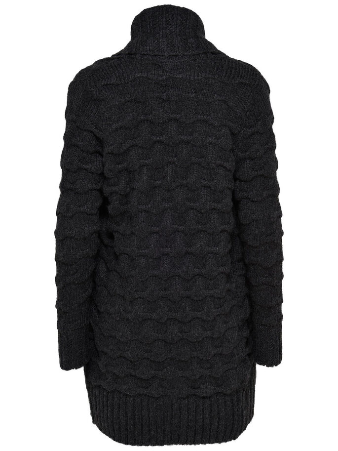LANGER STRICK-CARDIGAN, Black, large