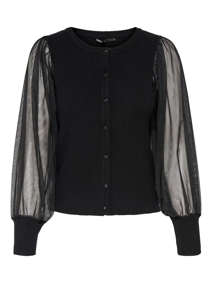 ORGANZA SLEEVES KNITTED CARDIGAN, Black, large