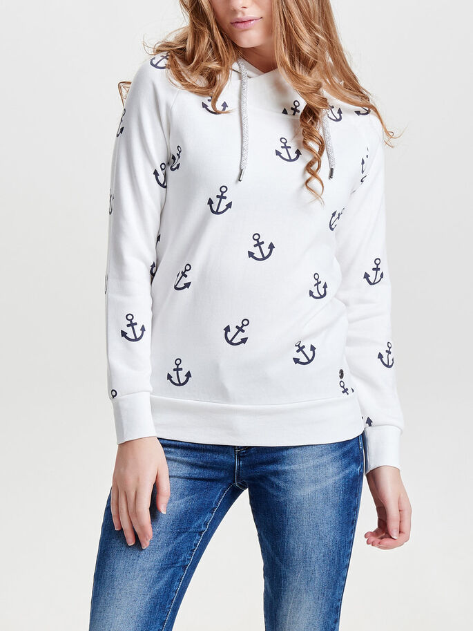 PRINTED SWEATSHIRT, Cloud Dancer, large