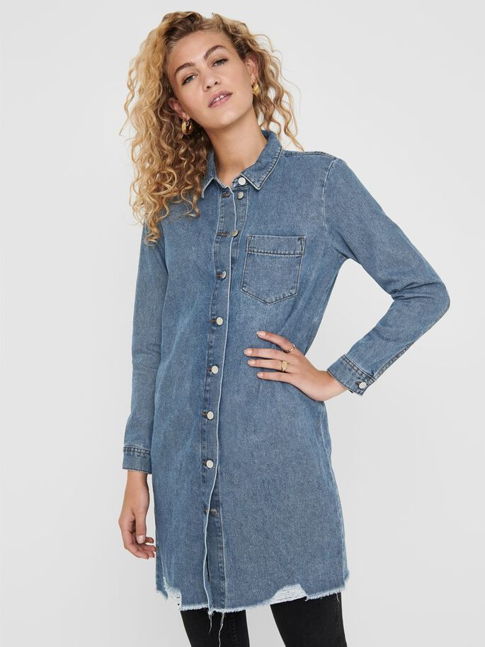 LONG DENIM DRESS, Medium Blue Denim, large