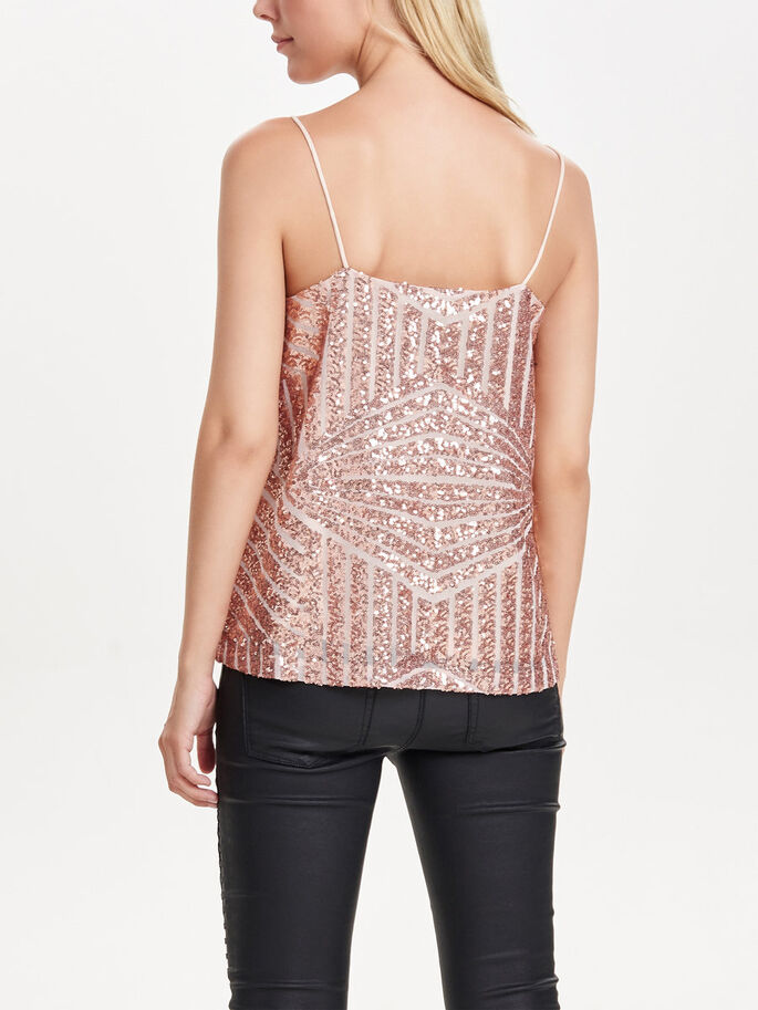 PAILLETTES TOP SANS MANCHES, Rose Gold Colour, large