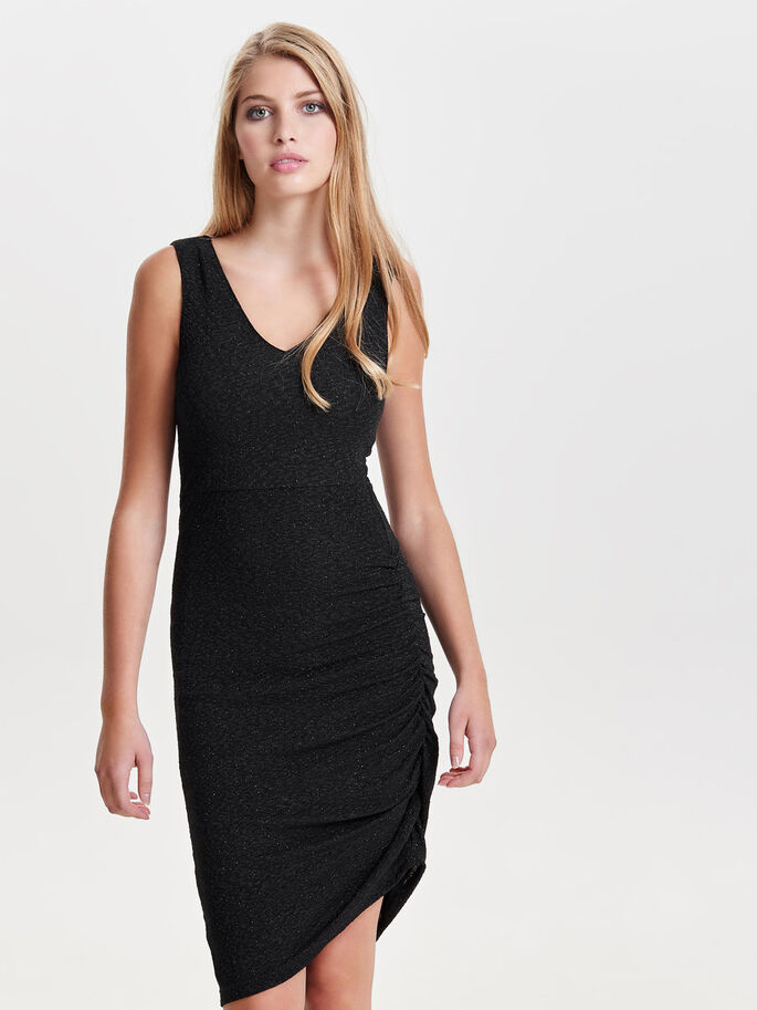 DRAPY SLEEVELESS DRESS, Black, large