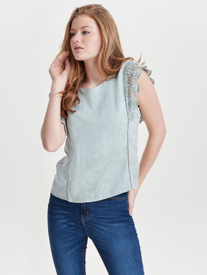 LACE SLEEVELESS TOP, Gray Mist, large