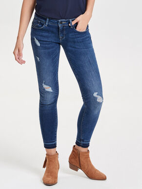 CORAL SUPERLOW RAW EDGE ANKLE SKINNY FIT JEANS